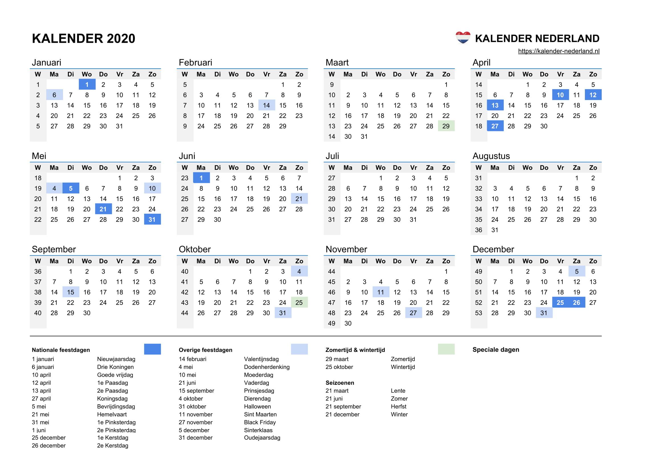 Calendrier Om 2020.Kalender 2020 Kalender Nederland